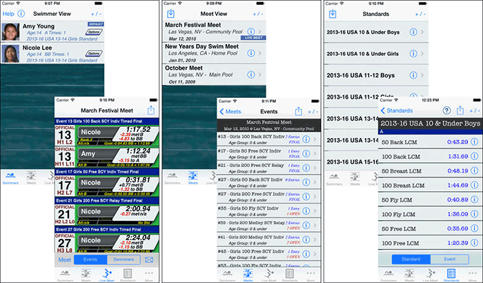 iSwimTimes Swimming iPad App Screenshot
