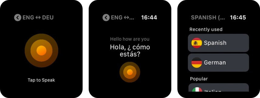 iTranslate Converse Productive Apple Watch app