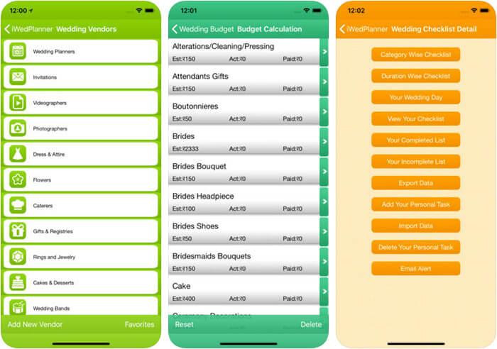 iWedPlanner iPhone and iPad App Screenshot