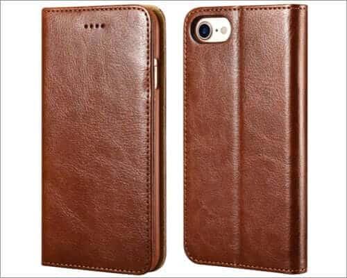 icarecase leather folio case for iphone se 2020