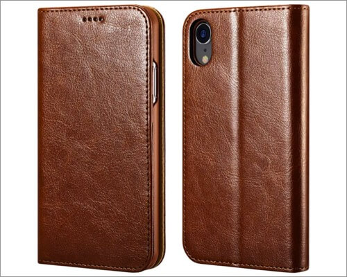 icarecase leather folio case for iphone xr