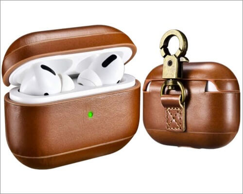 icarer genuine leather cover for airpods pro