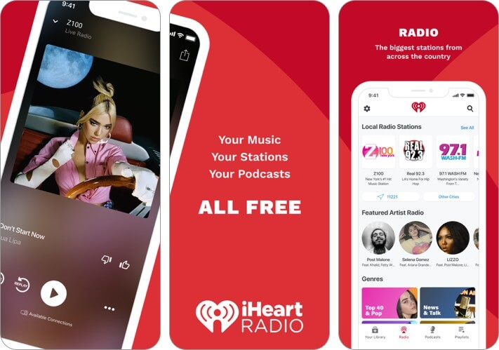 iheart radio iphone and ipad app screenshot
