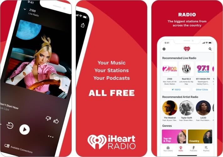 iHeart: Radio, Music, Podcasts iPhone CarPlay App Screenshot