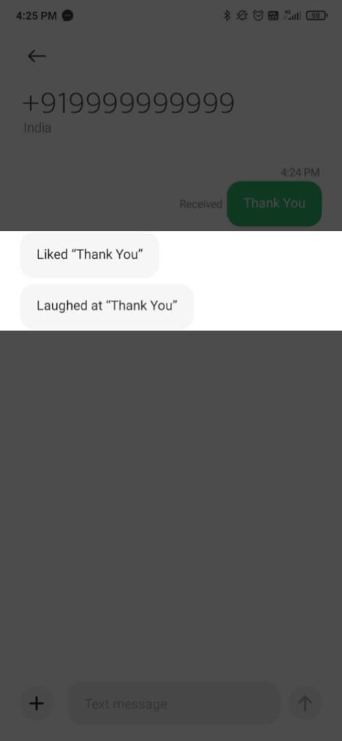 imessage expressions are sent as regulart text message to android phone