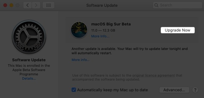 in software update window click on upgrade now