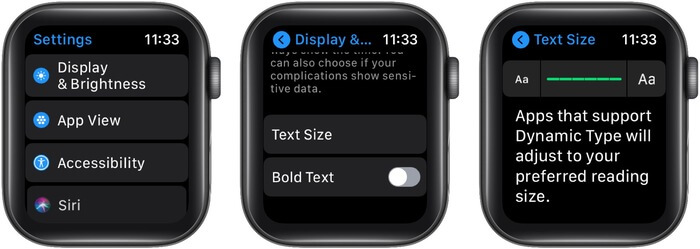 Increase Apple Watch text size to read comfortably