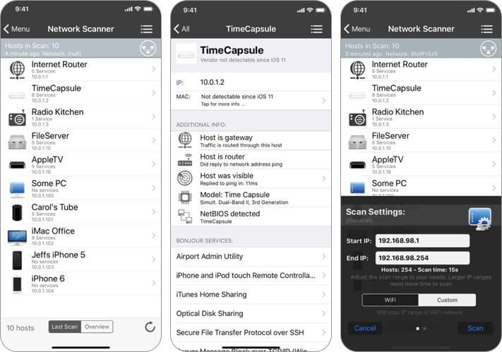 inet network scanner iphone and ipad wifi analyzer app screenshot