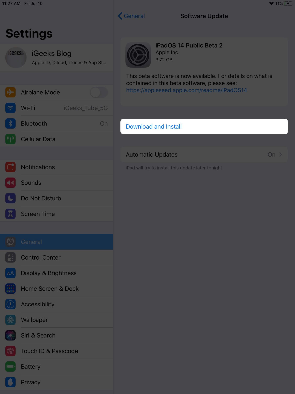 install ipados 14 public beta on ipad
