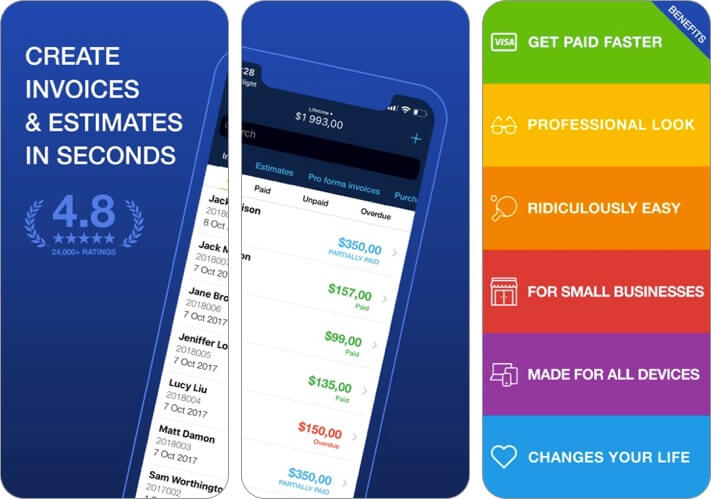 invoice & estimate - billdu iphone and ipad app screenshot