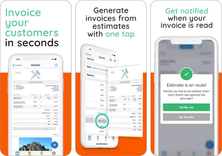 invoice simple estimate maker iphone and ipad app screenshot