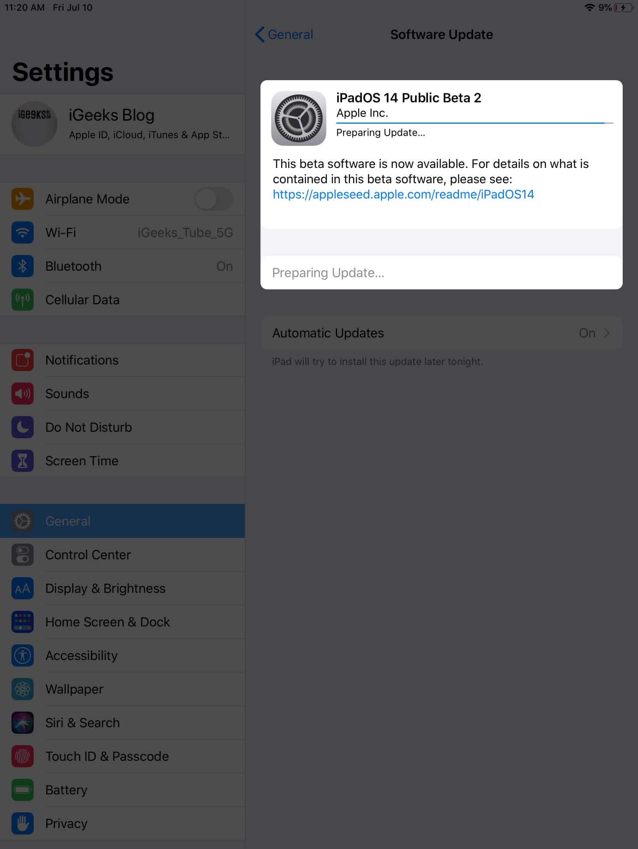 ipados beta profile is installing on ipad