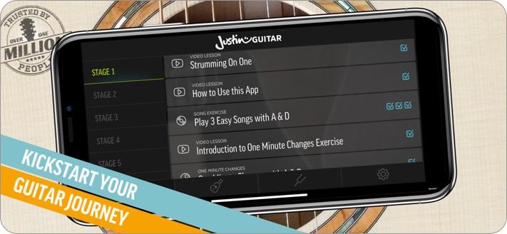 Джастин Скриншот приложения для обучения игре на гитаре