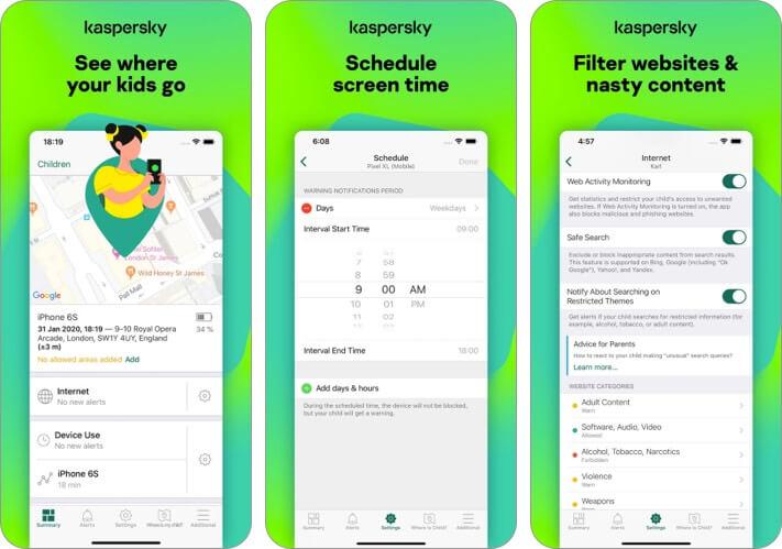 Kaspersky Safe Kids iPhone and iPad Parental Control App Screenshot