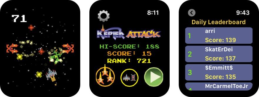 kepler attack apple watch game screenshot