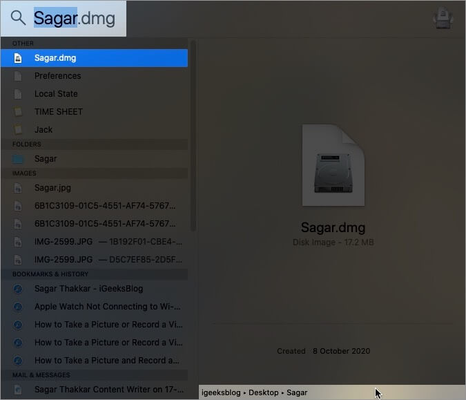 Know the Location of File or Folder in Spotlight Search on Mac
