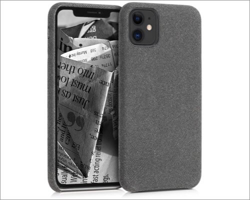 kwmobile fabric-covered tpu case for iphone 11, 11 pro and 11 pro max
