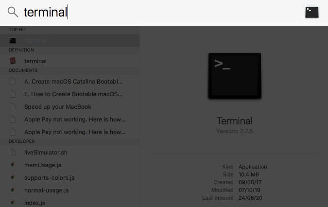 launch terminal from spotlight search on mac
