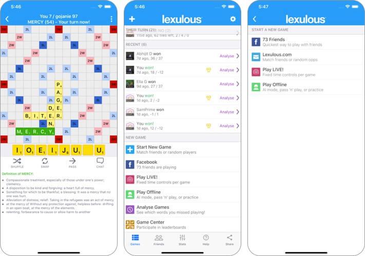 lexulous word game lite iphone and ipad scrabble app screenshot