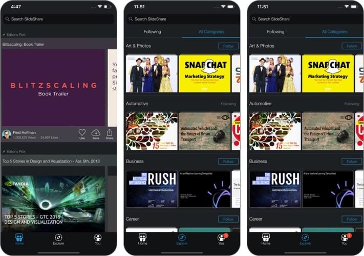 linkedin slideshare iphone and ipad presentation app screenshot
