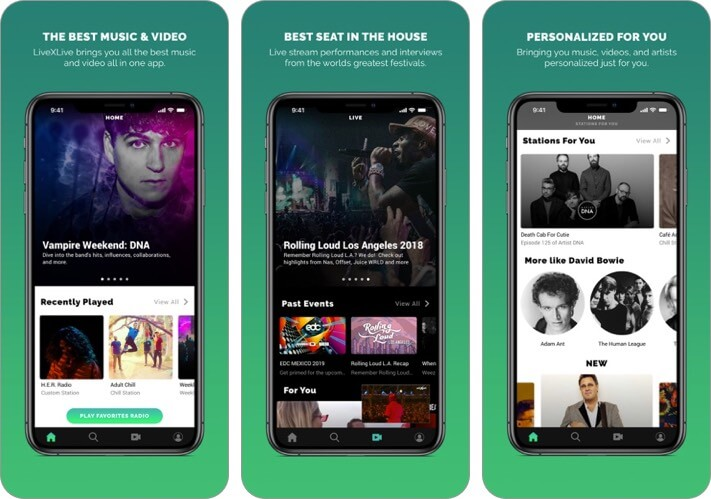 livexlive music streaming iphone and ipad app screenshot