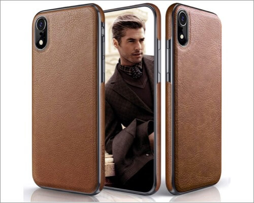 lohasic slim fit protective leather case for iphone xr