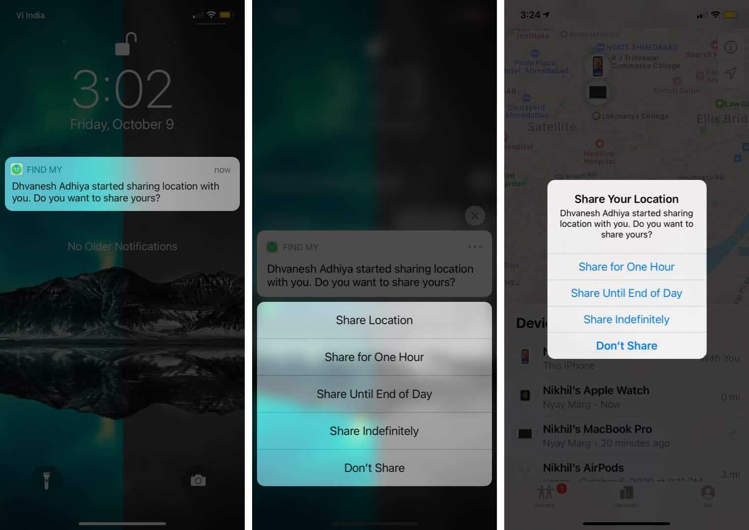 Long Press on Notification and Choose Preferred Option to View Location on Family Member's iPhone