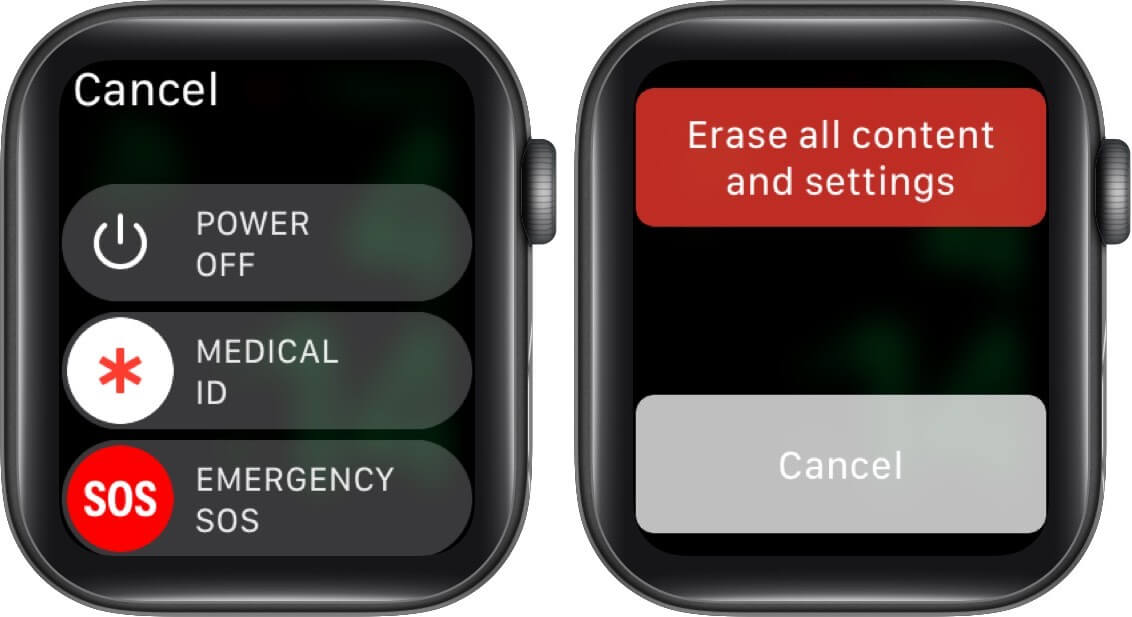 long press on power off slider and tap on erase all content and settings on apple watch