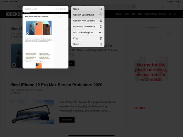 Long Press on Safari Link and Select Open in New Window