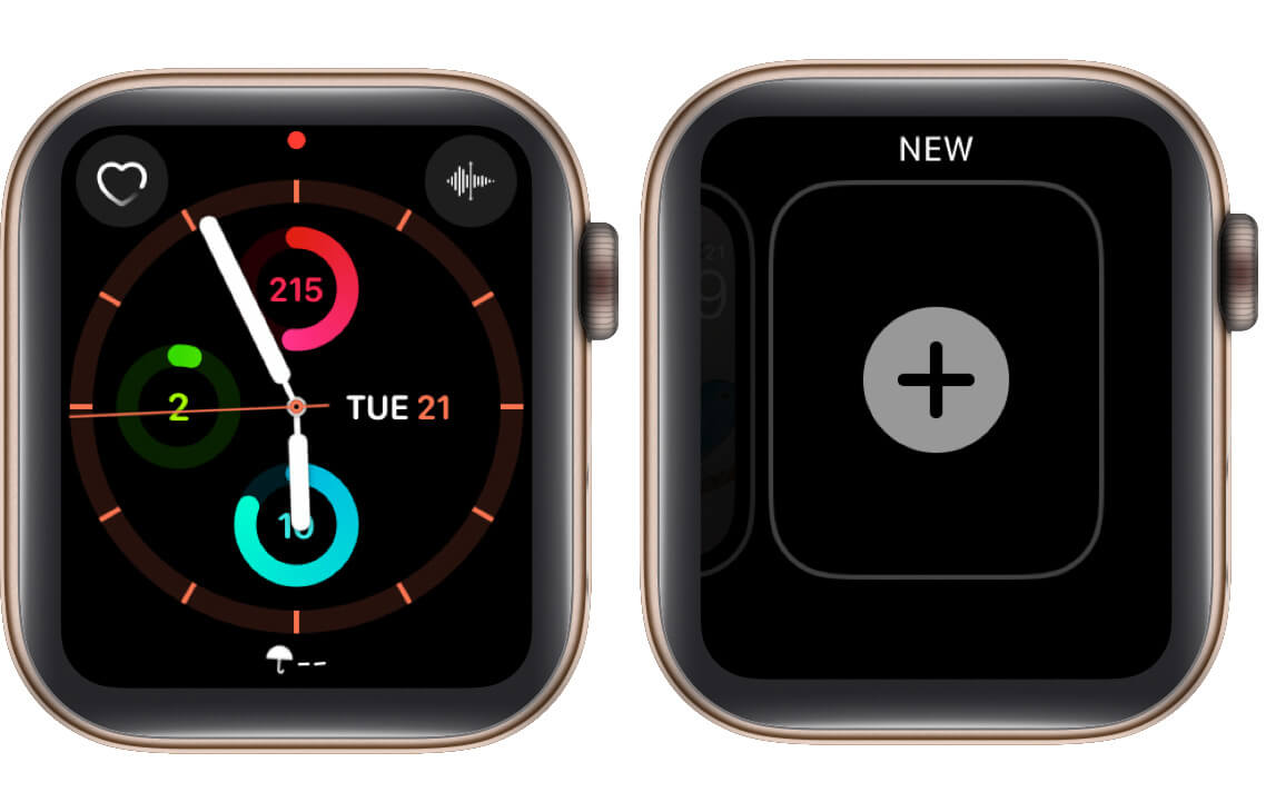 long press on watch face and tap on plus icon