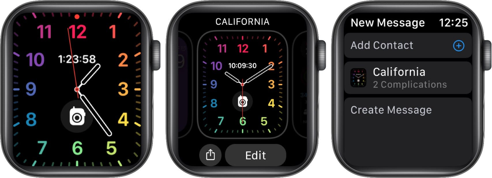 long press on watch face tap on share and tap on add contact on apple watch
