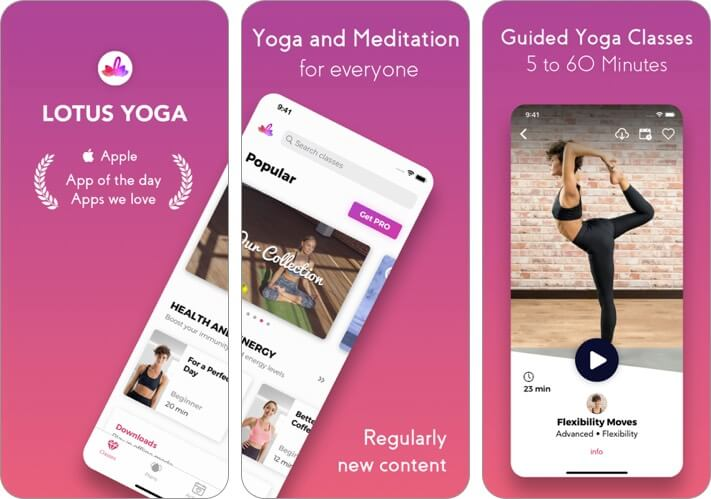 lotus yoga and meditation iphone app screenshot