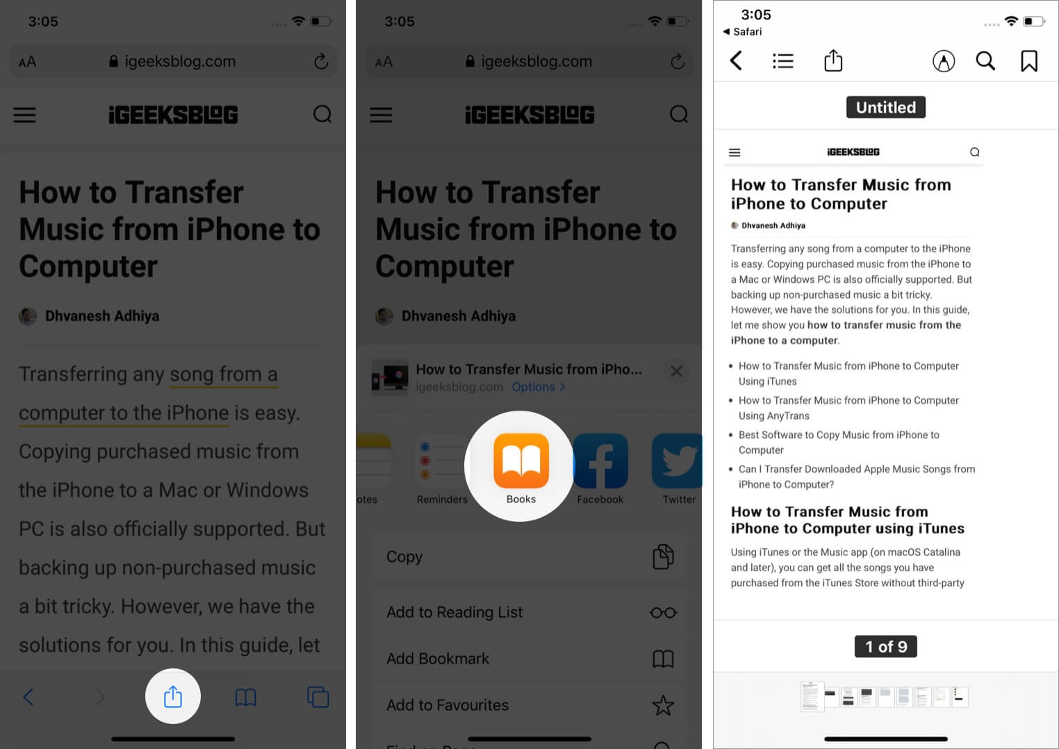 make pdf from safari to books app on iphone