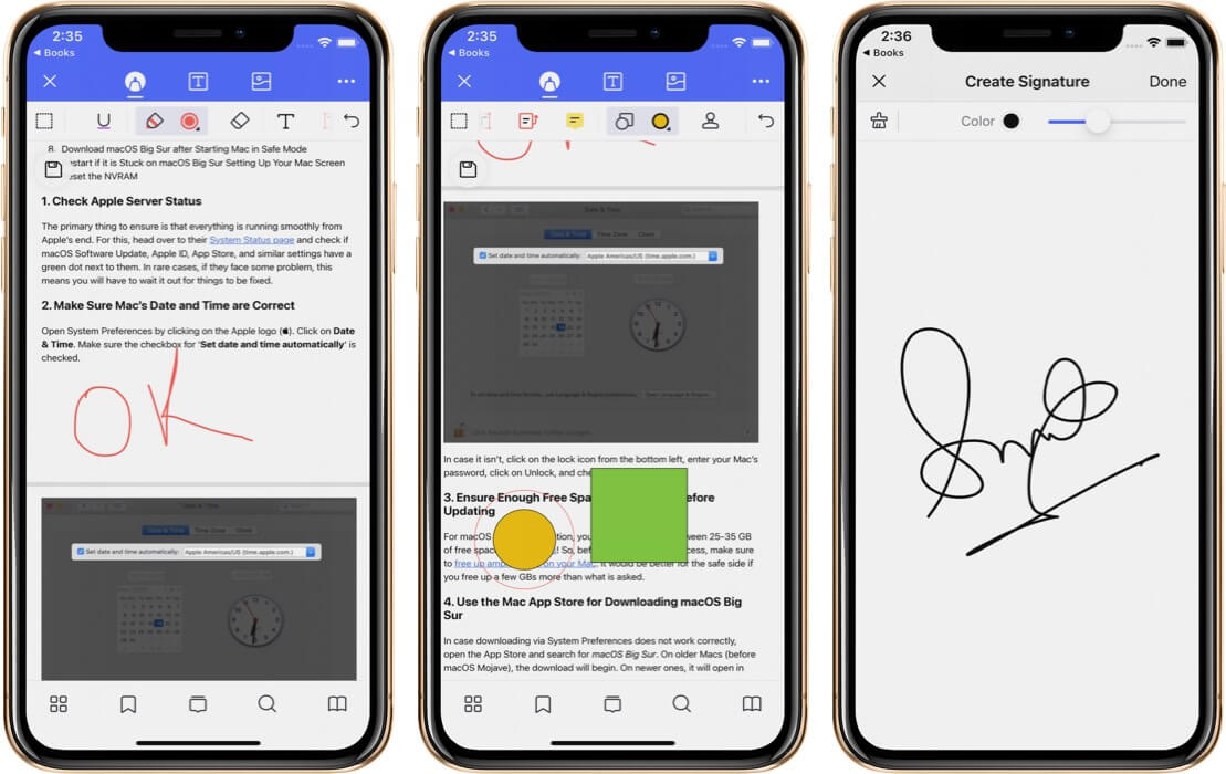 Make Shape Scribble and Sign on PDF in PDFelement Pro App