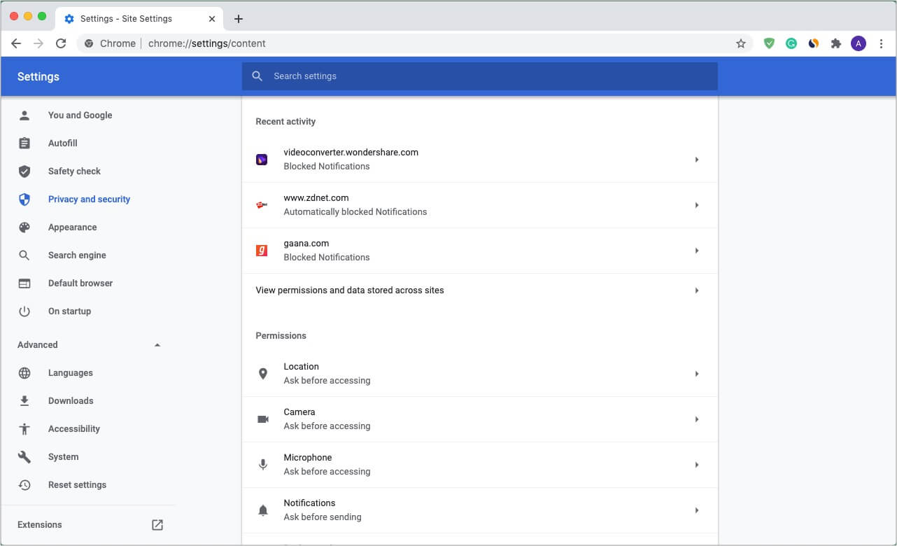 Manage site permissions in Chrome