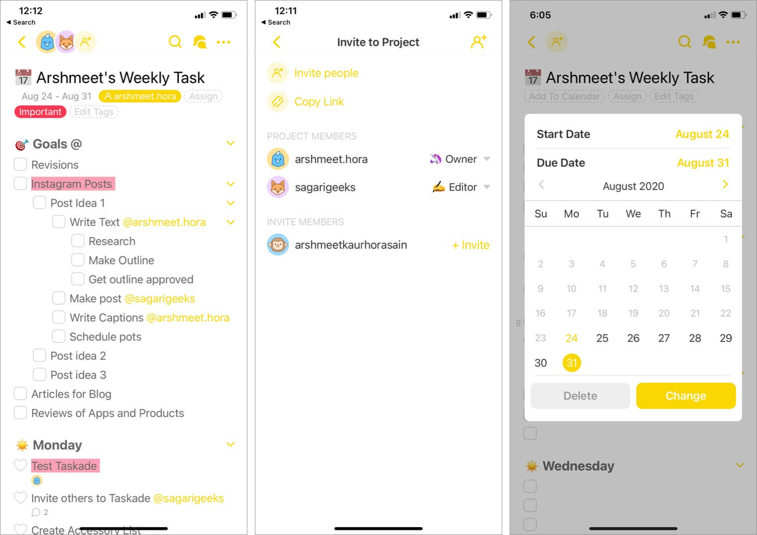 manage team and projects using taskade app on iphone