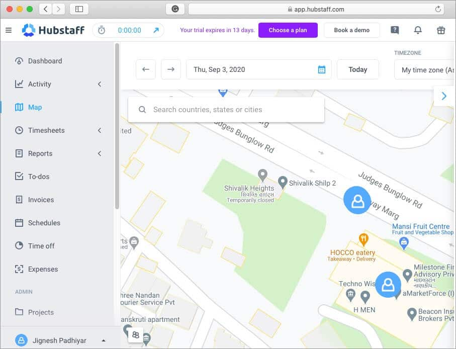 map tracking feature for remote employee using hubstaff time tracking