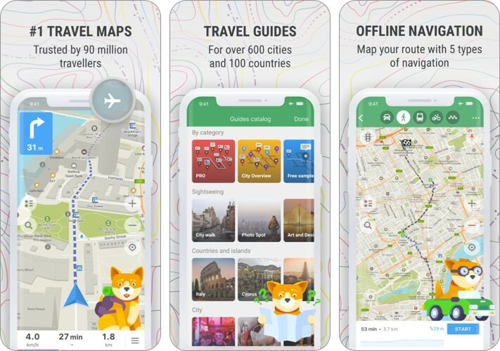 maps.me offiline map iphone and ipad app screenshot