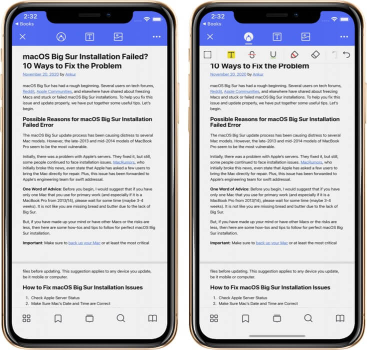 Marking Up and Annotating PDF in PDFelement Pro App on iPhone