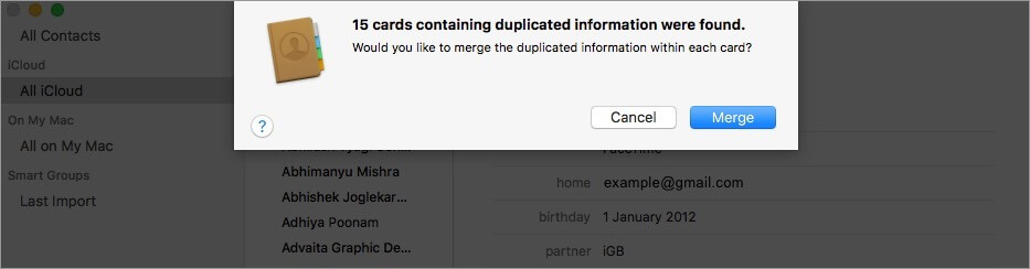 merge duplicate contacts on your mac