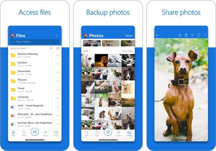 microsoft onedrive file manager iphone and ipad app screenshot