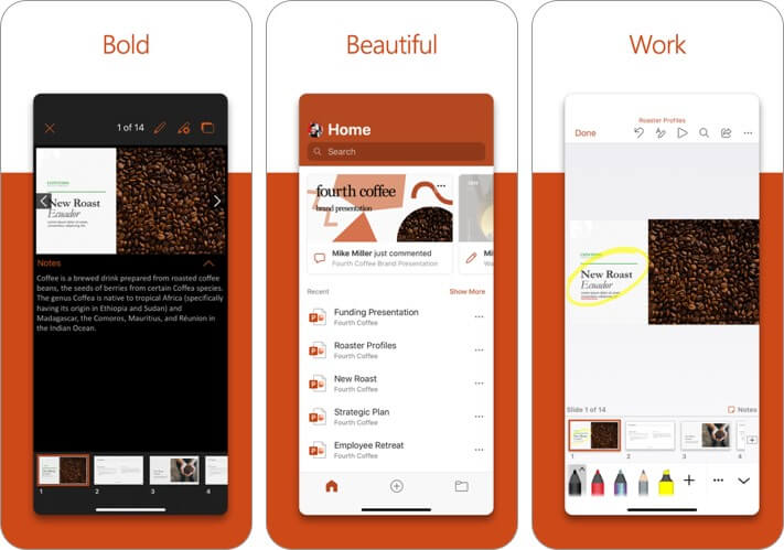 microsoft powerpoint iphone and ipad presentation app screenshot
