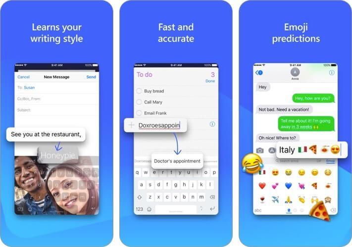 microsoft swiftkey keyboard iphone and ipad ai app screenshot