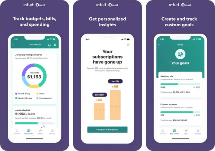mint personal finance iphone and ipad app for women screenshot