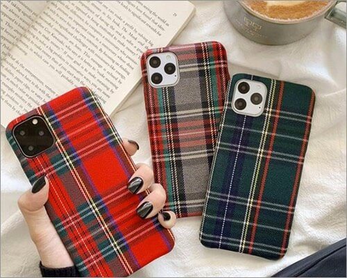 mixneer warm flannel plaid fabric case for iphone 11, 11 pro and 11 pro max