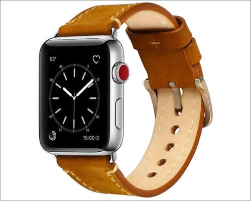 Mkeke Genuine Leather Band for Apple Watch Series 6, 5, 3 and SE