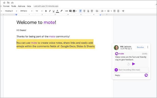 mote Google Chrome extension
