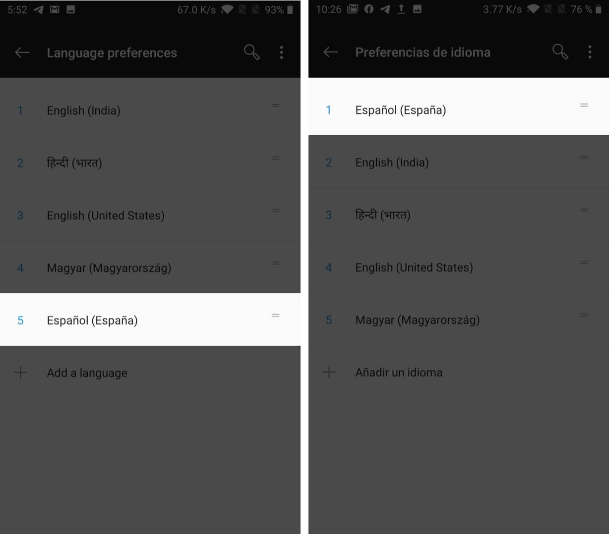 move languange to top to change preferred language on android device