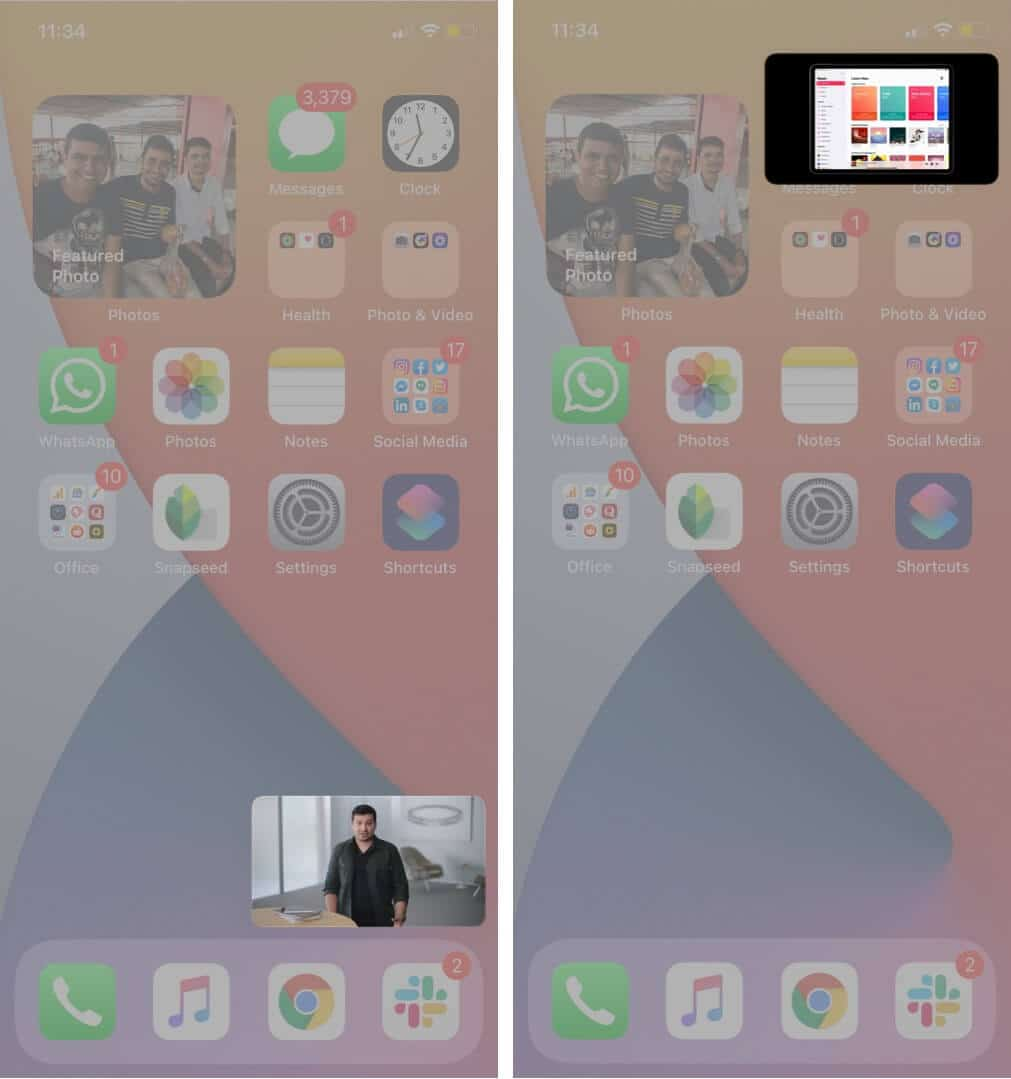 move minimized youtube video on iphone screen