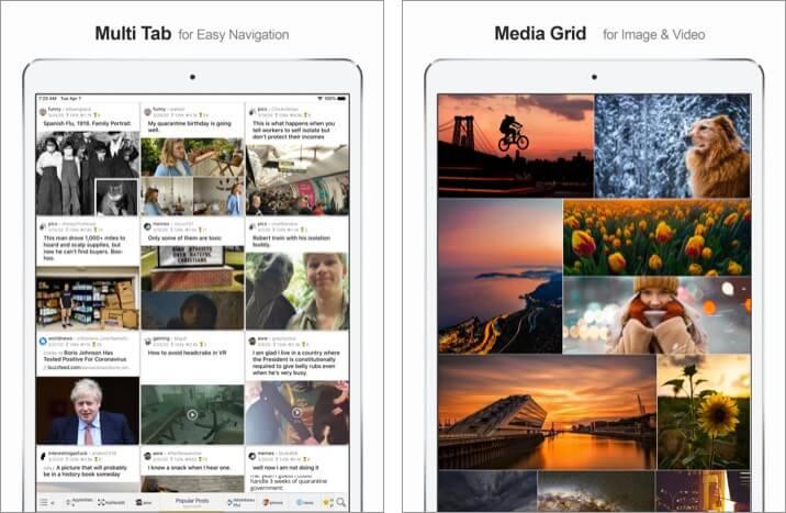 MultiTab for Reddit iPad App Screenshot